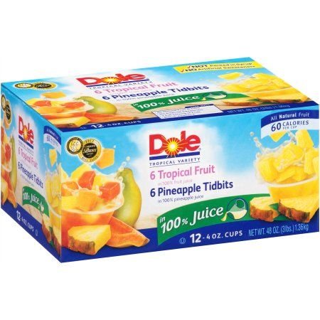 Dole® Tropical Fruit in 100% Fruit Juice, Pineapple Tidbits in 100% Fruit Juice 12-4 oz. Cups