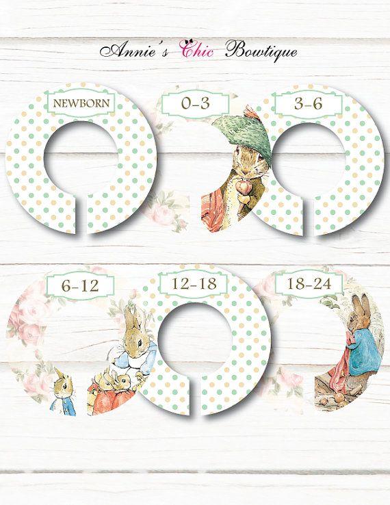 Diviseurs de placard fille Beatrix Potter placard diviseurs, Peter Rabbit pépinière, bébé diviseurs de placard, organisateurs de placard, cadeau de naissance, C211