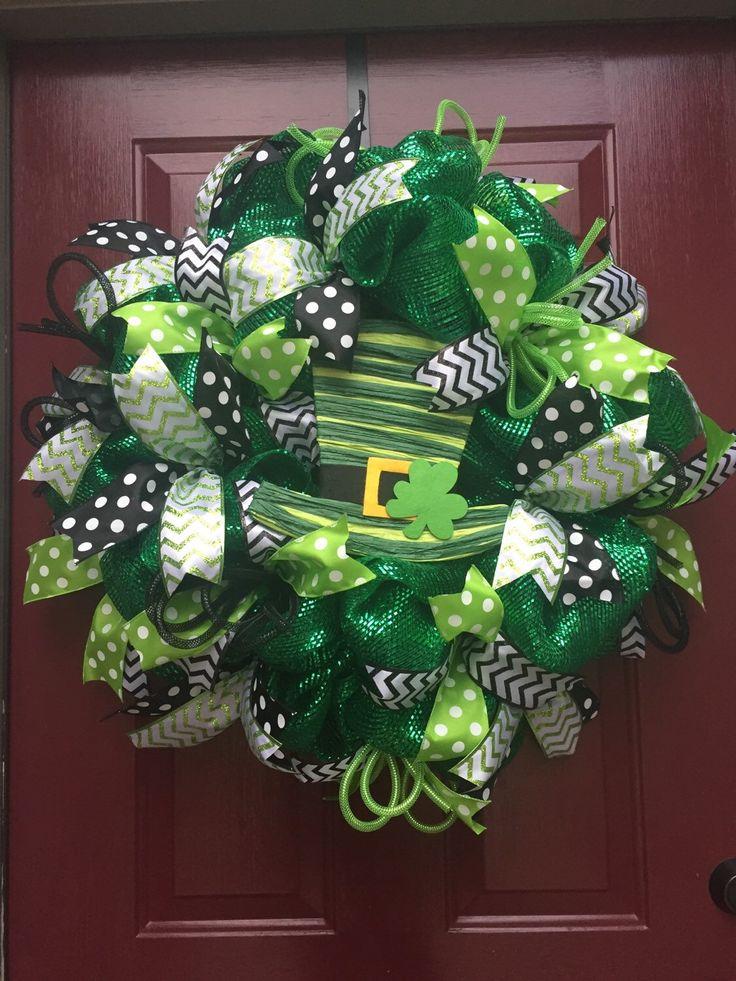 St. Patrick's Day Deco Mesh Wreath by MsSassyCrafts on Etsy https://www.etsy.com/listing/220836365/st-patricks-day-deco-mesh-wreath