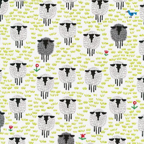 SHEEP - Organic Cotton by Cloud 9 Fabric - Happy Drawing by Ed Emberley  - 1 Yard