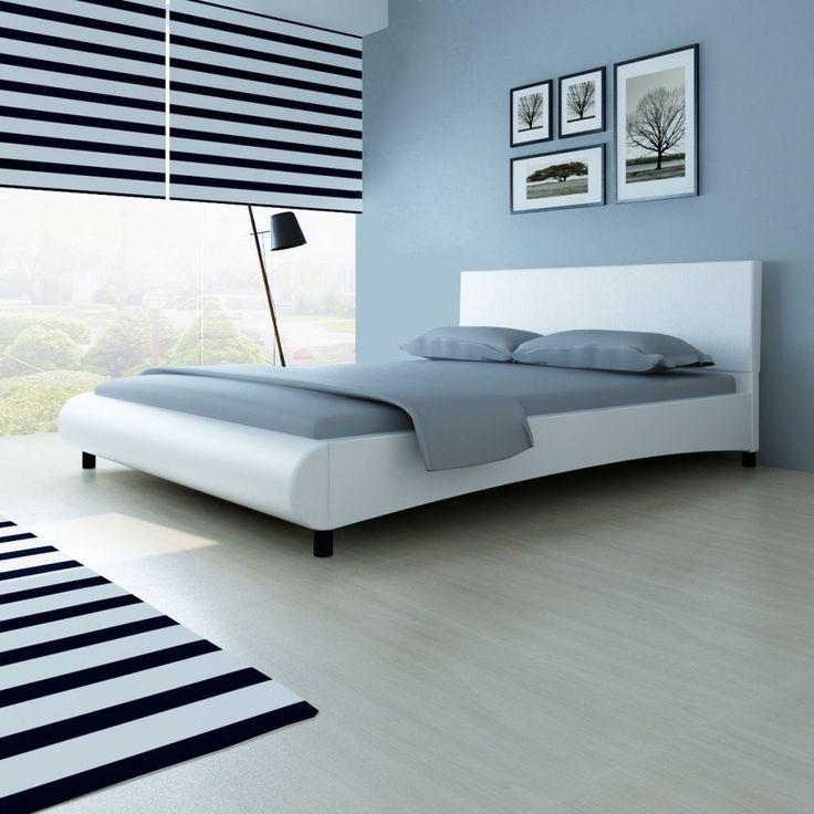 modern white leather bed frame king 5ft bedroom guest room hotel furniture slats - White Leather Bed Frame