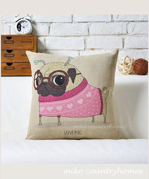 "$14 | Pug Inspired Series | Linen Throw Pillow Cover | Decorative Home Décor | 45x45cm 18""x18"" #pug #homedecor #pillowcover"
