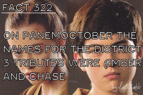 Why do they have normal names? Like clove Cato glimmer Katniss Peeta, those aren't common. How'd you get amber and chase?