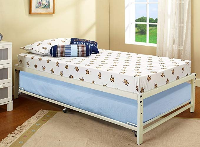 Kings Brand White Metal Twin Size Platform Bed Frame With Roll Out