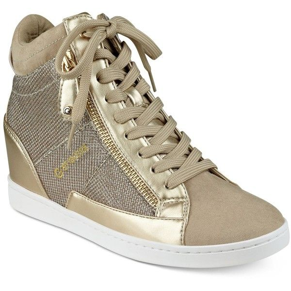 G by Guess Damsel High-Top Wedge Sneakers ($69) ❤ liked on Polyvore featuring shoes, sneakers, gold glitter, glitter shoes, gold high-top sneakers, wedged sneakers, high top shoes and gold wedge sneakers