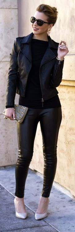 Black leather jacket and pant - love how this is the first fashion shot of a girl rocking leather leggings who actually kinda looks like me (i.e. short and curvy).