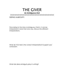 best the giver resources images teaching ideas   the giver an ambiguous end worksheet and questions
