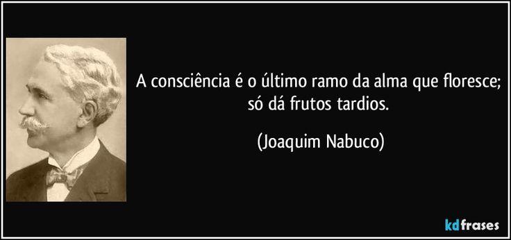 A consciência é o último ramo da alma que floresce; só dá frutos tardios. (Joaquim Nabuco)