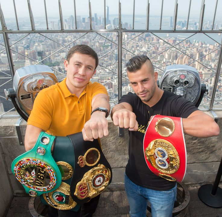 """August 18, 2015: Boxing superstars Gennady """"GGG"""" Golovkin and David Lemieux have a friendly face-off at the Empire State Building's 86th floor Observatory. On October 17th, they'll fight for the World Middleweight Championship title at Madison Square Garden."""