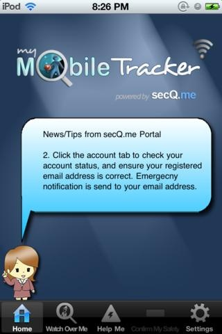 secQ.me, your personal safety app.    SecQ.me, award winning my mobile tracker app, that protects me and give others peace of mind.  http://www.youtube.com/watch?feature=player_embedded&v=1Hf5hbVxuJw