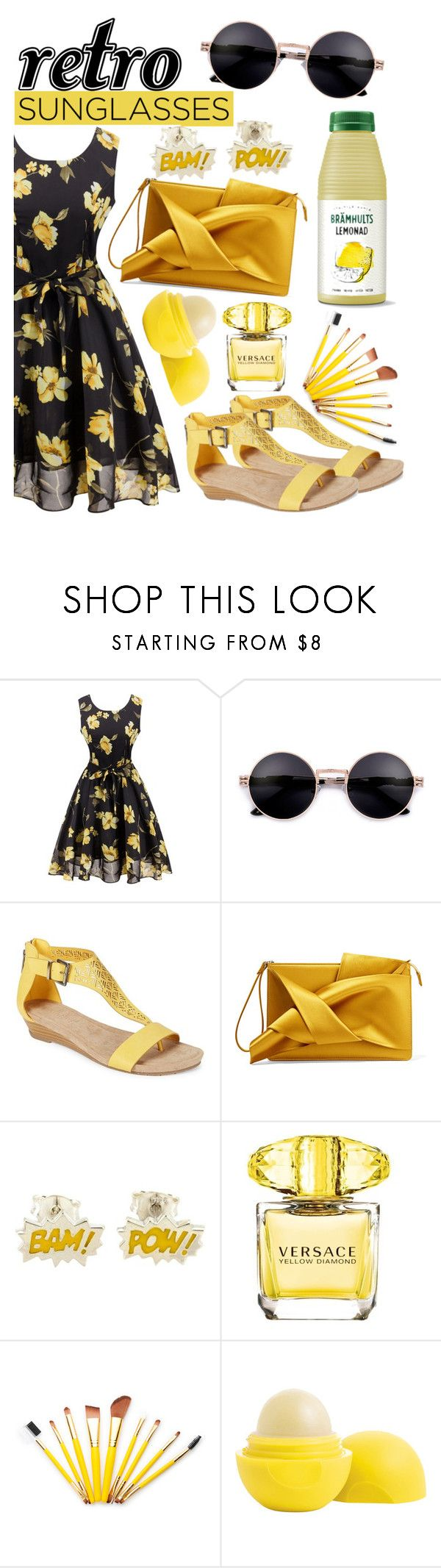 """""""Retro Sunglasses"""" by angelinapurplerose ❤ liked on Polyvore featuring Kenneth Cole Reaction, N°21, Versace, Eos and vintage"""