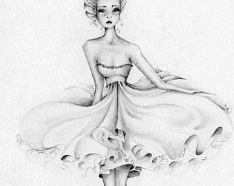 Mode Illustration Print Giclee Kunstdruck meiner ursprünglichen Fashion Illustration Bleistift Zeichnung eines Mädchen Black und White minimalistische Kunst