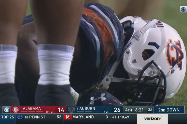 Oh no.  This is awful news, if it's serious. In the fourth quarter of Saturday's game against Alabama, Auburn running back Kerryon Johnson went down with an apparent non-contact injury during a run.  It initially looked to be a lower leg injury of some sort, but CBS' Gary Danielson ...