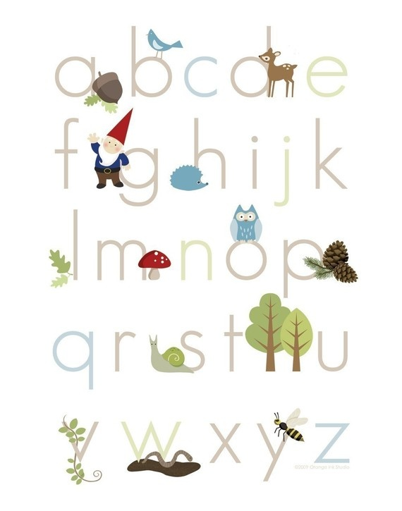 alphabet poster. love that gnome. and the owl. and the toadstool. heck, I just love it all. :-)