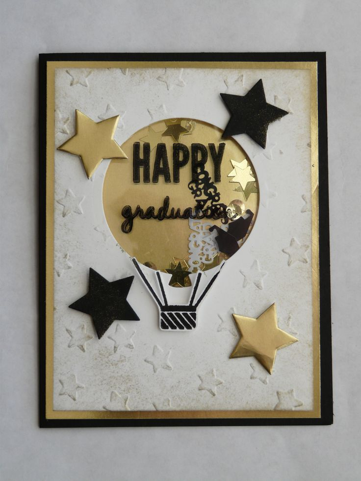 May Stampin' Up! Workshop 2015. Supplies: Graduation themed confetti (I found mine on Amazon), Basic Black paper, Whisper White paper, Gold Foil Sheets, Window Sheets, Stars Framelits, Balloon Framelits, Lucky Stars embossing folder, StazOn Ink (black), Gold Metallic Encore Ink, Stampin' Sponges, Stampin' Dimensionals, and Sticky Strip.