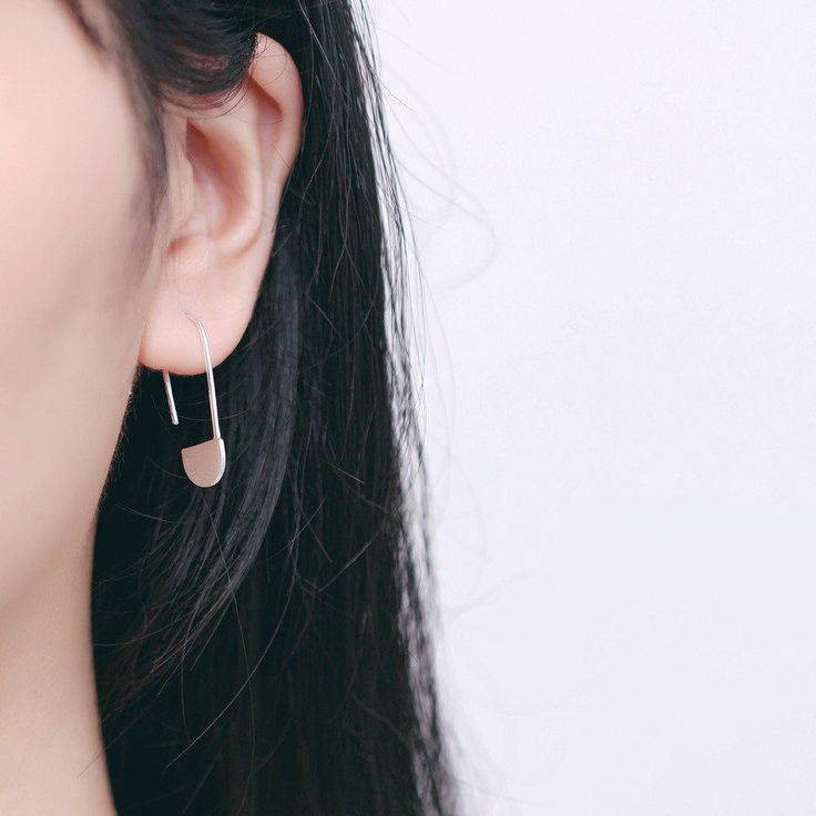 Simple 925 Sterling Silver Paperclip Earrings Women Jewelry at Banggood