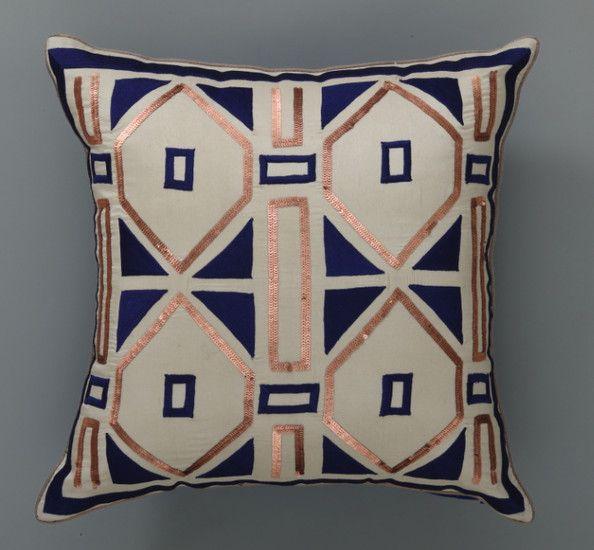 Copper navy pillow