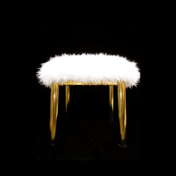 Karl Springer Brass Ottoman / Footstool  by ELECTRICmarigold