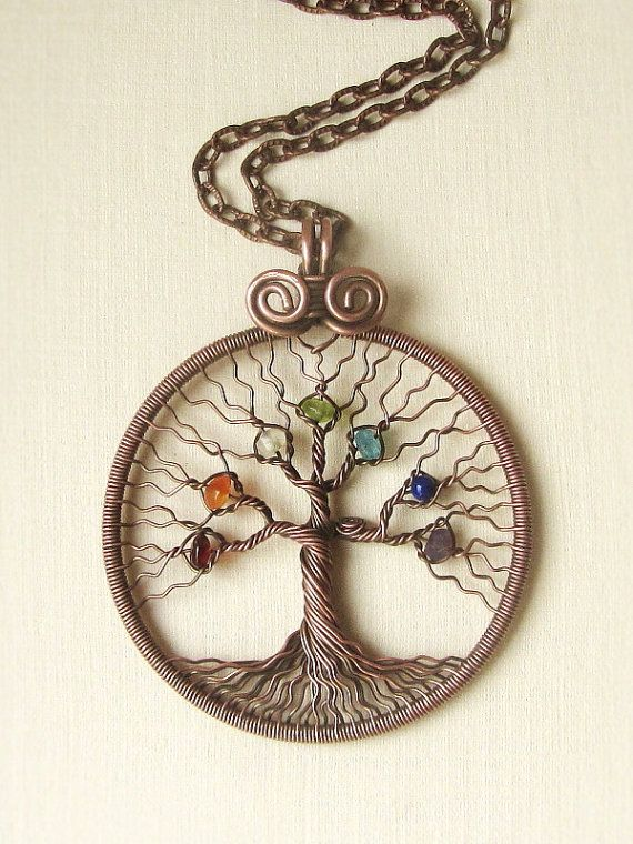 Chakra pendant Yoga Tree of Life Pendant Necklace copper wire Family tree Round pendant Universal gift chakra stones Diameter 55 mm