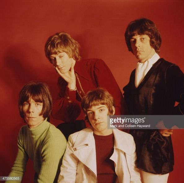 English pop group The Herd circa 1967 Left to right keyboard player Andy Bown bassist Gary Taylor guitarist Peter Frampton and drummer Andrew Steele