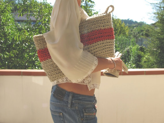 Oversized Crocheted Bag in Light Gray and Vintage Orange by yorokobiness, €38.00