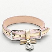 Perfectly darling in pastel pink and metallic leathers with a heart-shaped Coach charm, and quite possibly the prettiest dog collar ever—handcrafted elegance designed for the most pampered canines.