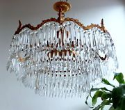 ebay now BEAUTIFUL LARGE FRENCH VINTAGE LEAD CRYSTAL  3 TIERS ORNATE BRASS CHANDELIER