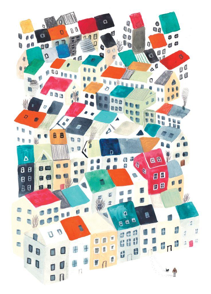 Houses. Reykjavik. Illustration by Marc Martin