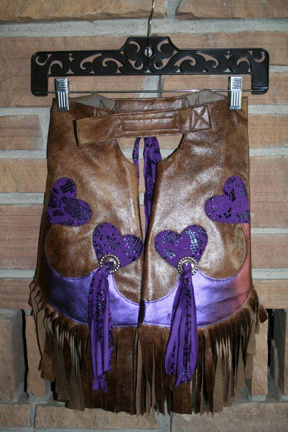 Purple Heart Chinks Rodeo Wear Cowgirl Chaps size by TalkOfTheBarn