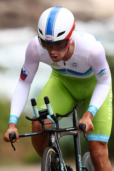 #RIO2016 Primoz Roglic of Slovenia competes in the Cycling Road Men's Individual Time Trial on Day 5 of the Rio 2016 Olympic Games at Pontal on August 10 2016...