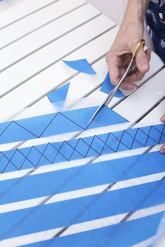 use wax paper to easily create custom shapes with tape. bistro table DIY project