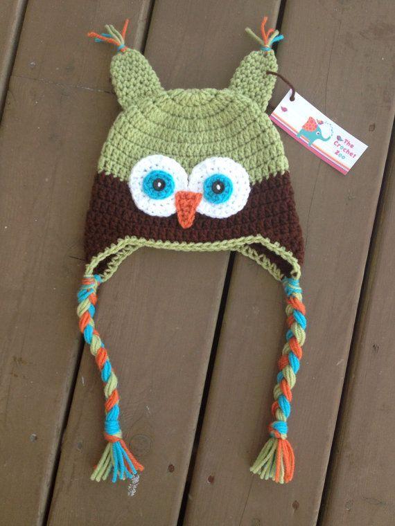 Owl Hat Infant Owl Hat Crochet Kids Hat Baby Boy by TheCrochetZoo, $20.00