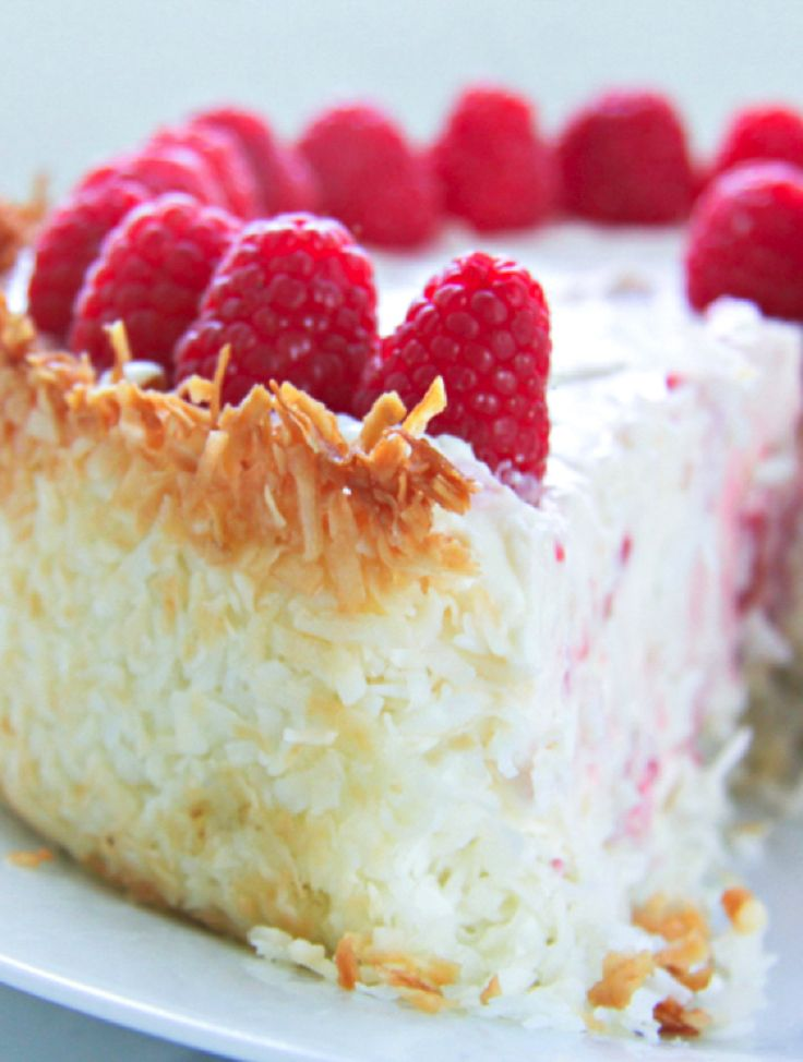 This no bake Keto Raspberry Cheesecake with Coconut Macaroon Crust is creamy, luscious and super easy to make! Low carb, gluten free, atkins, THM, & keto!