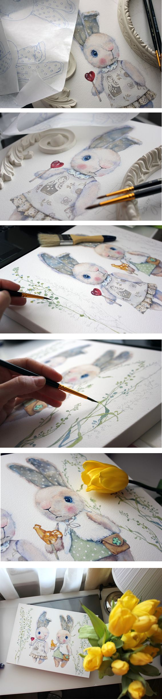 Watercolor rabbits on Behance                              …