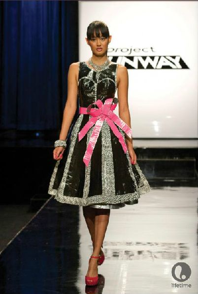 Project Runway 2013 prom dress made out of Duck tape brand duct tape and muslin
