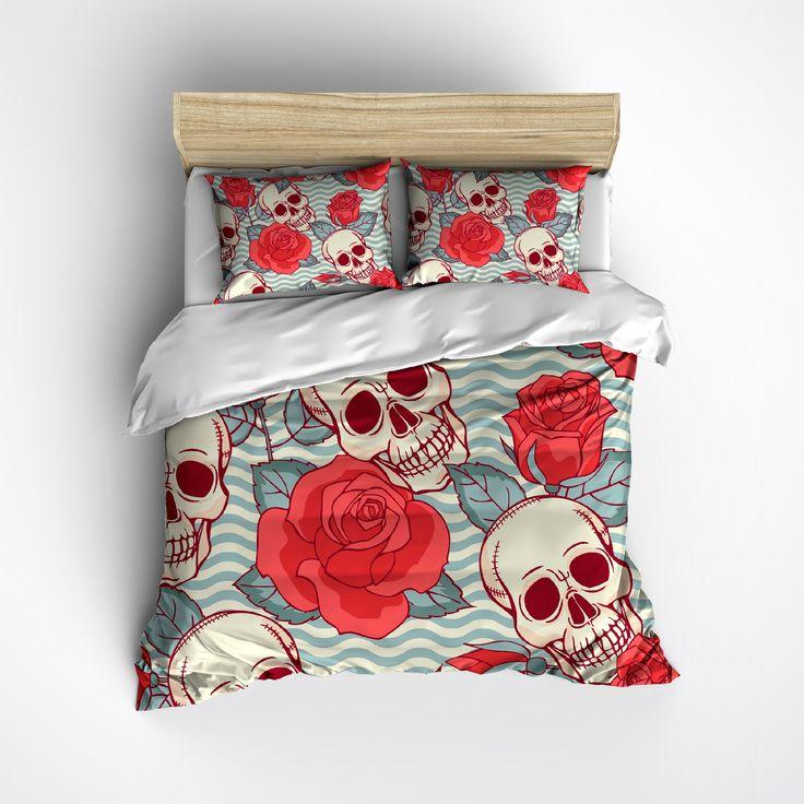 Fleece Coral Rose and Blue Waves Skull Bedding