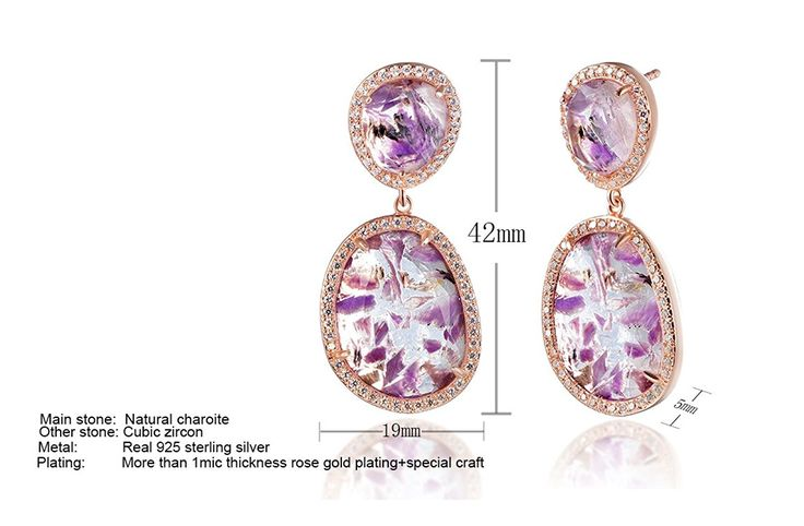 Природные камни 925 Природные чароит серьги двухслойные стерлингов металлизированный розового золота с Dormith®: Amazon.co.uk: Ювелирные изделия