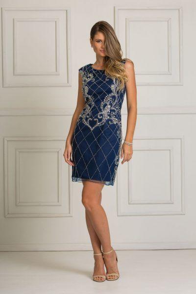Chic Blue é um lindo e sofisticado vestido curto azul marinho com bordados em prata. Ótimo para as mulheres c… em 2020 | Vestido curto azul marinho, Vestidos, Vestido curto