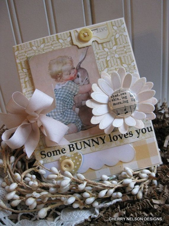 vintage i love you cardCHILD and BUNNY by cherrysjubileecards, $8.50