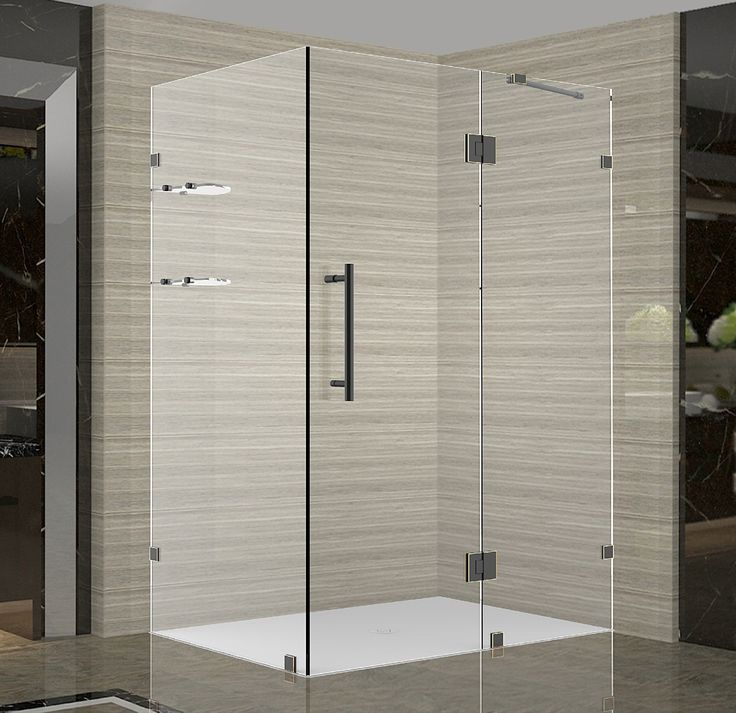 SEN992 Avalux GS Completely Frameless Square | Rectangular Shower Enclosure with Shelves shown in Oil Rubbed Bronze Finish, Clear Glass