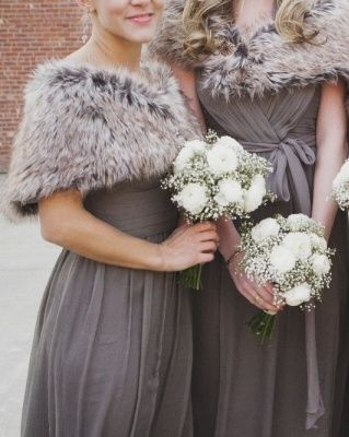 Winter wedding inspiration. Adding fur to your bridesmaids outfits will keep them toasty during photos, but also adds country chic and keeps to your Christmas theme. We love!