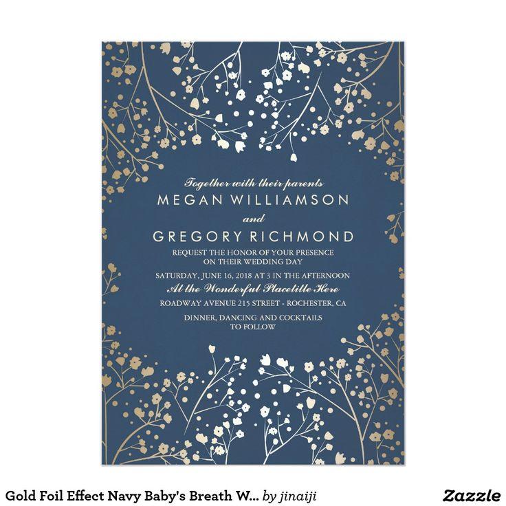 金ゴールドホイルの効果海軍赤ん坊の呼吸結婚式 12.7 X 17.8 インビテーションカード