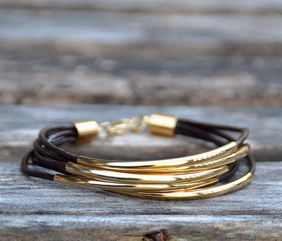 Leather + Gold Bracelet  I want I want!!!