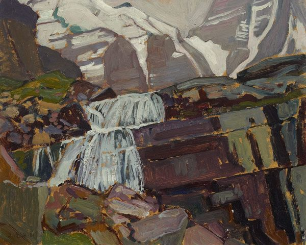 J.E.H. MacDonald (1873-1932), Canadian / Waterfall near Lake O'Hara, 1929 [Victoria Falls on the trail from Lake O'Hara up to Lake Oesa] / Art Gallery of Ontario