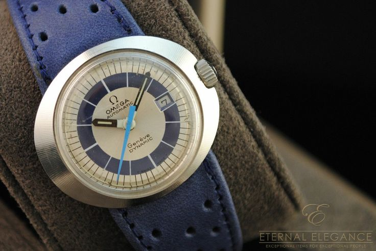 Vintage Omega Geneve Dynamic Automatic 1970's Stainless Steel Blue Strap | eBay...