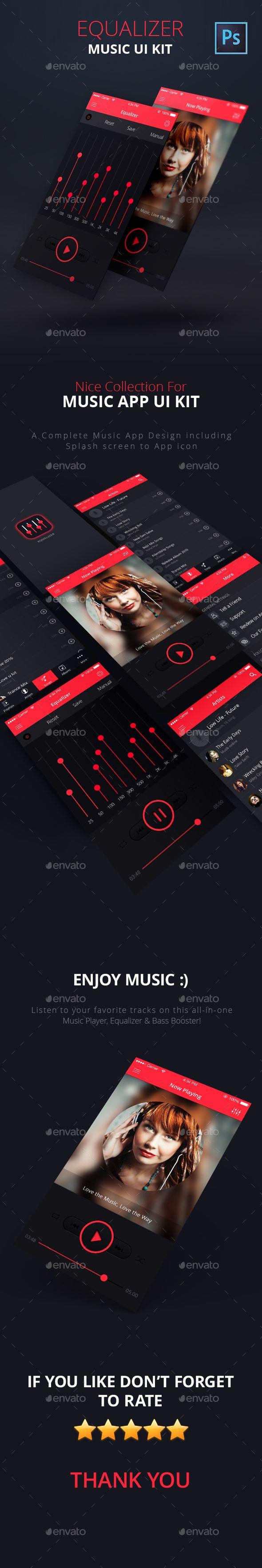 Equalizer – Music App UI Kit Template PSD. Download here: http://graphicriver.net/item/equalizer-music-app-ui-kit-psd/15614268?ref=ksioks