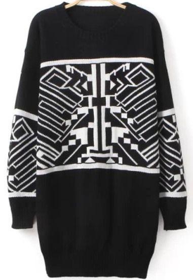 Pullover Kleid Rundhals mit Geometrie Muster Schwarz | berlinmo von…