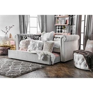 Furniture of America Nellie Tuxedo Style Tufted Flax Daybed with Twin Trundle - Free Shipping Today - Overstock.com - 17983127 - Mobile