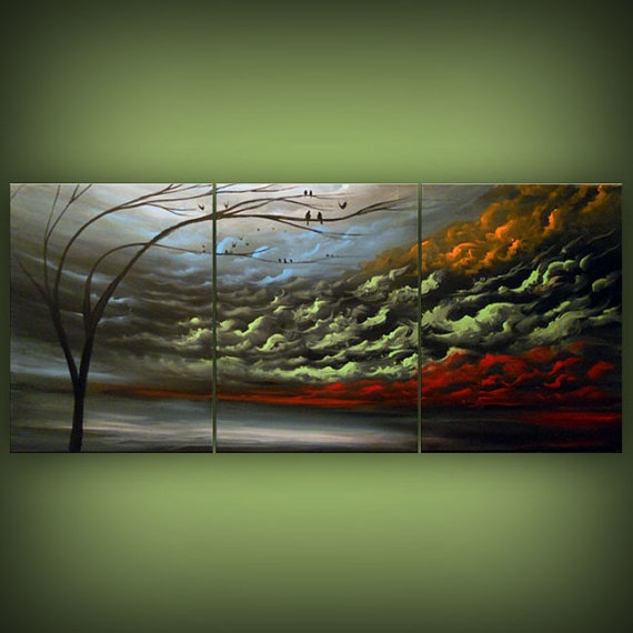 ORIGINAL modern large abstract tree landscape painting by mattsart, $375.00