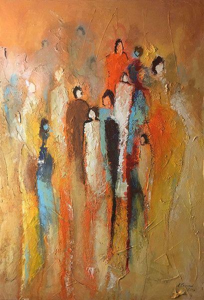 """SOLD – modernes Bild Malerei 70×50 cm Menschen """"Mittendrin II"""" – ein Designerstück von Dworzak bei DaWanda #painting #bild #malerei #acrylmalerei #people – Marij Vaessen"""